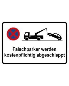 Parkverbotsschild Falschparker werden kostenpflichtig abgeschleppt · Aufkleber | Schild | Magnetschild
