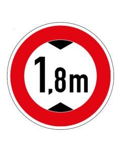 Verkehrszeichen Durchfahrtshöhe max. 1,8 m · Aufkleber   Schild   Magnetschild