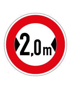 Verkehrszeichen Durchfahrtsbreite max. 2,0 m · Aufkleber | Schild | Magnetschild