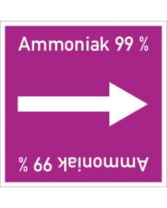 Rohrleitungskennzeichnung viereckig Ammoniak 99 %   Aufkleber · Magnetschild · Aluminiumschild