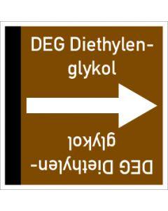 Rohrleitungskennzeichnung viereckig DEG Diethylenglykol | Aufkleber · Magnetschild · Aluminiumschild