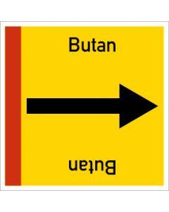 Rohrleitungskennzeichnung viereckig Butan | Aufkleber · Magnetschild · Aluminiumschild