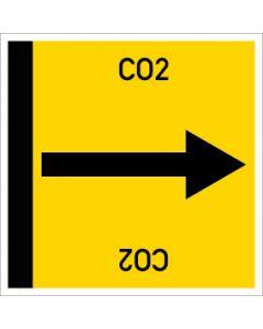 Rohrleitungskennzeichnung viereckig CO2 | Aufkleber · Magnetschild · Aluminiumschild