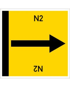 Rohrleitungskennzeichnung viereckig N2 | Aufkleber · Magnetschild · Aluminiumschild