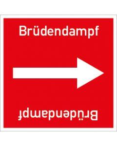 Rohrleitungskennzeichnung viereckig Brüdendampf | Aufkleber · Magnetschild · Aluminiumschild