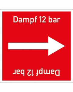 Rohrleitungskennzeichnung viereckig Dampf 12 bar | Aufkleber · Magnetschild · Aluminiumschild