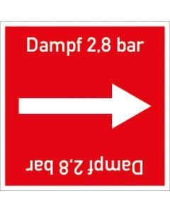 Rohrleitungskennzeichnung viereckig Dampf 2,8 bar | Aufkleber · Magnetschild · Aluminiumschild