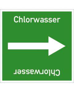 Rohrleitungskennzeichnung viereckig Chlorwasser | Aufkleber · Magnetschild · Aluminiumschild