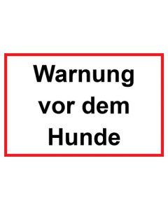 Schild | Aufkleber · Warnung vor dem Hunde rot