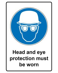 Gebotszeichen mit Text · Aufkleber | Schild | Magnetschild · Head and eye protection must be worn