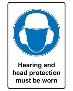 Gebotszeichen mit Text · Aufkleber | Schild | Magnetschild · Hearing and head protection must be worn