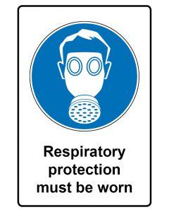Gebotszeichen mit Text · Aufkleber | Schild | Magnetschild · Respiratory protection must be worn