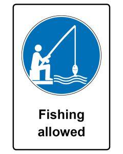 Gebotszeichen mit Text · Aufkleber | Schild | Magnetschild · Fishing allowed