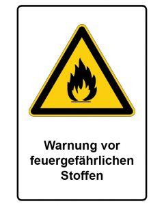 Warnzeichen mit Text · Aufkleber | Schild | Magnetschild · Warnung vor feuergefährlichen Stoffen