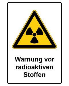 Warnzeichen mit Text · Aufkleber | Schild | Magnetschild · Warnung vor radioaktiven Stoffen