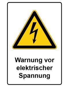 Warnzeichen mit Text · Aufkleber | Schild | Magnetschild · Warnung vor elektrischer Spannung