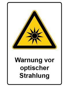 Warnzeichen mit Text · Aufkleber | Schild | Magnetschild · Warnung vor optischer Strahlung