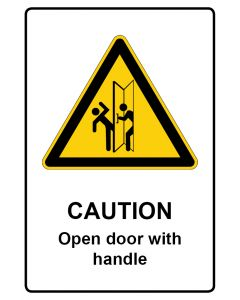 Warnzeichen mit Text · Aufkleber | Schild | Magnetschild · Caution · Open door with handle