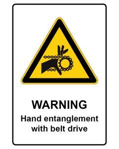 Warnzeichen mit Text · Aufkleber | Schild | Magnetschild · Warning · Hand entanglement with belt drive