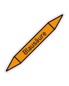 Rohrleitungskennzeichnung Blausäure · Aufkleber | Schild · Rohrkennzeichnung