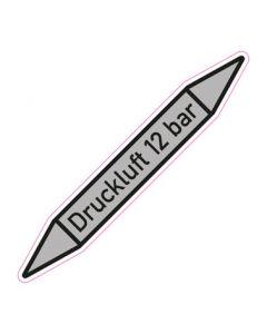 Rohrleitungskennzeichnung Druckluft 12 bar · Aufkleber | Schild · Rohrkennzeichnung