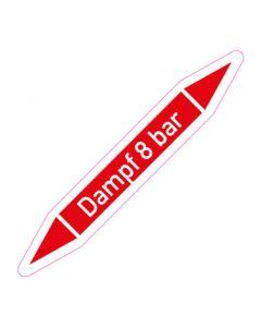 Rohrleitungskennzeichnung Dampf 8 bar · Aufkleber | Schild · Rohrkennzeichnung