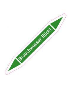 Rohrleitungskennzeichnung Brauchwasser Rückl. · Aufkleber | Schild · Rohrkennzeichnung