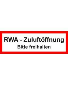 Feuerwehrzeichen RWA Zuluftöffnung · Bitte freihalten