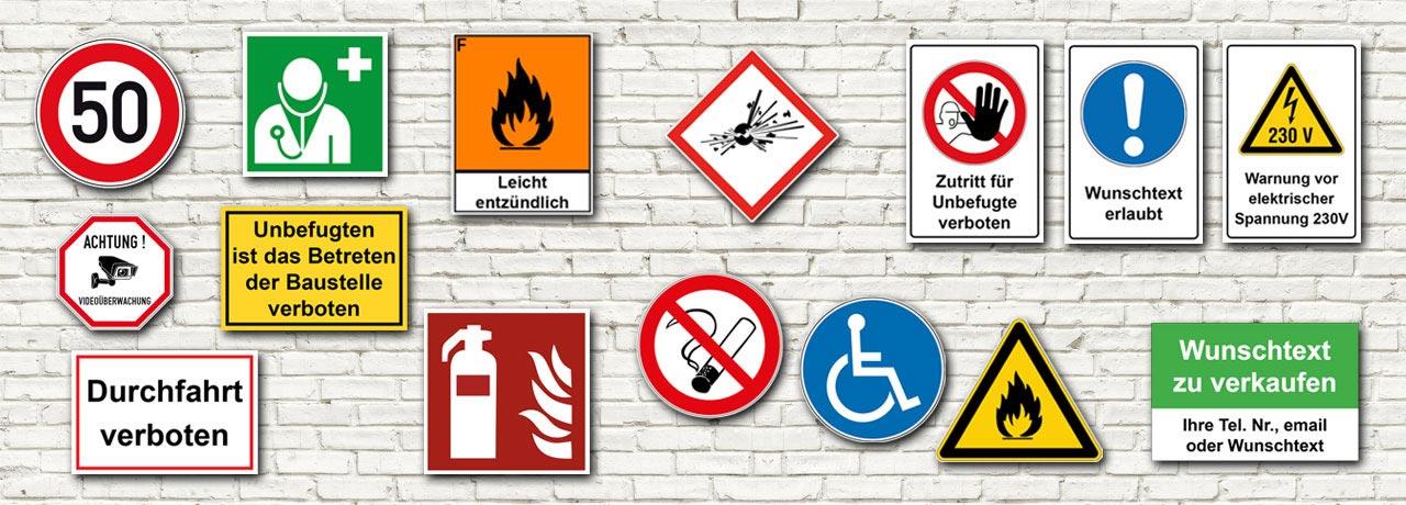 Sicherheitszeichen online kaufen · Verbotszeichen · Gebotszeichen · Warnzeichen